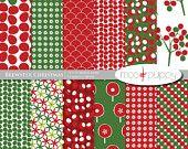 BUY 2 GET 1 FREE:    Brewster Christmas - Digital Scrapbook Paper Pack