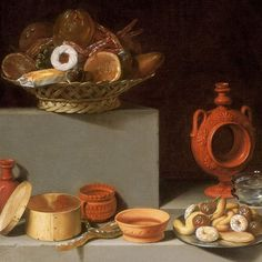 "In ""Still Life with Sweets and Pottery"" (1627), Juan van der Hamen is concerned with the harmonious arrangement of objects and the accurate representation of texture and light. #artdetail #partsofpaintings #atnga"