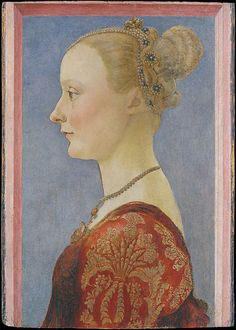This portrait depicts what a young bride of the Renaissance would wear.  During the Renaissance, a person's wardrobe was based on their monetary status.  This woman obviously came from or married into wealth.  Over her red and gold gown, she wears a giornea, which was an open-sided and sleeveless robe that women of this era wore over their gown.  Giorneas were popular in Florence from 1486-1490.