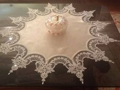 This Pin was discovered by Ewa Filet Crochet, Crochet Lace, Ribbon Embroidery, Machine Embroidery, Lace Beadwork, Burlap Table Runners, Point Lace, Sewing Art, Linens And Lace