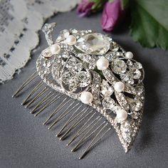 NADINE - Vintage Style Wedding Hair Comb, Pearl and Rhinestone Leaf Bridal Hair Comb, Art Deco Wedding Headpiece, Bridal Hair Accessories on Etsy, $56.00