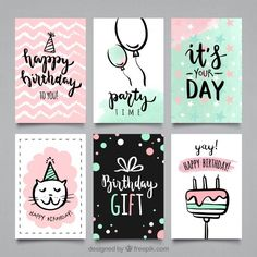 Discover the best free graphic resources about carte, 377 6 Creative Birthday Cards, Handmade Birthday Cards, Diy Birthday, Happy Birthday Cards, Birthday Card Drawing, Watercolor Birthday Cards, Birthday Card Design, Cumpleaños Diy, Tarjetas Diy
