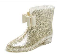 134c9bdefa72 2015 femmes Plus le coton courtes bottes de pluie fleur   arc talon plat  bottes de