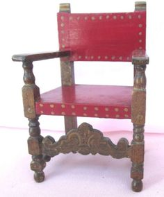ANTIQUE-DOLLHOUSE-MINIATURE-WOOD-CHAIR-PAINTED-RED-SEAT-BACK-GOLD-ACCENTS