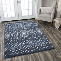 Union Rustic Nona Hand-Tufted Wool Indigo Area Rug Rug Size: Rectangle x Wool Area Rugs, Blue Area Rugs, Weed, Thing 1, Transitional Rugs, Rectangular Rugs, Contemporary Area Rugs, Southwestern Style, Blue Wool