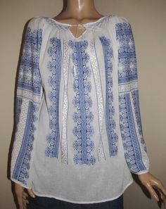 Hand embroidered Romanian blouse - blue bird comb size M long Blouse Dress, Blue Blouse, Gypsy Fashion, White Silk, Gypsy Style, Blue Bird, Hand Embroidery, Ethnic, White Dress