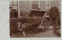 Durk Jan Jaarsma met zijn zuster Pietje bij de hondenkar waarmee Durk Jan algemene levensmiddelen verkocht. Durk Jan en zijn vrouw Elisabeth Jaarsma-Bosma hadden een klein winkeltje in Balk. Foto circa 1930.