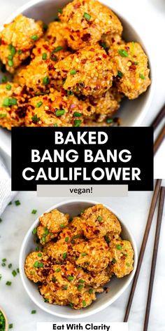 This baked bang bang cauliflower is a vegan take on the popular bang bang shrimp! These gluten free cauliflower wings are healthy, crispy and so easy to make. #bangbangcauliflower Vegetarian Cauliflower Recipes, Healthy Pasta Recipes, Healthy Pastas, Tofu Recipes, Healthy Side Dishes, Side Dishes Easy, Vegetarian Food, Bang Bang Cauliflower, Cauliflower Pasta