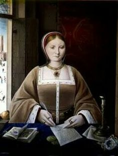 Catherine of Aragon. This portrait is said to be actually pretty close to what she truly looked like based on books on the topic.