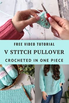 Easy One piece crochet pullover. Free step by step video tutorial! Inclusive sizing Crochet V stitch pattern. Crochet Waffle Stitch, Pull Crochet, Crochet Ripple, Diy Crochet, Crochet Crafts, Crochet Shawl, Crochet Projects, Crochet Sweaters, Macrame Projects