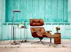 Vintage Eames Style Tan Leather Lounge Chair by TheSouthernMermaid, $650.00