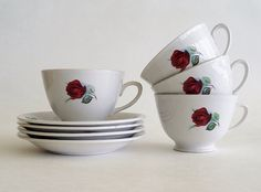 Cottage Charm Red Rose Tea Cups and Saucers by SunshineSurprises