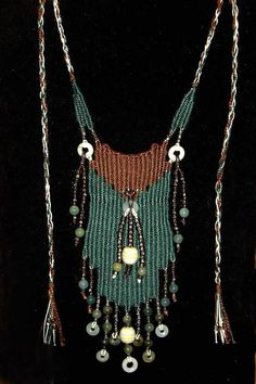 """""""Jade Falls"""" - 2012 - Adjustable Length, Jade Beads and Donuts, SOLD.  Woven by Terri Scache Harris, theravenscache.shutterfly.com   Hand woven, handwoven, weaving, weave, needleweaving, pin weaving, woven necklace, fashion necklace, wearable art, fashion necklace, fiber art."""