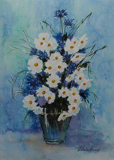 Kwiaty w wazonie. W. Podlecka