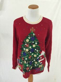 c40c6a8f55c8 Tiara Internaltionl Red Xmas Tree Ugly Christimas Sweater M   eBay Xmas  Tree, Ugly Christmas