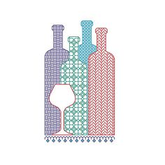 BLACKWORK pattern wine bottles bottle selection by CottonSeason, £1.50