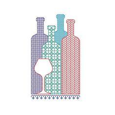 BLACKWORK pattern wine bottles bottle selection by CottonSeason, £1.50
