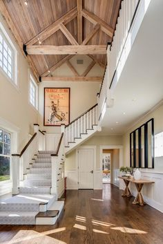 Bruce Willis Selling His Shingle-Style Country House in New York - Hooked on Houses Country House Design, Country House Interior, House In The Country, Rustic Stairs, New York Homes, Bruce Willis, House Inside, Celebrity Houses, Modern Country