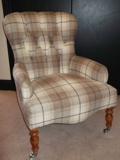 Compact, classic - this button back bath chair looks stylish in check. Bespoke Sofas, Check Fabric, Cushion Filling, Sofa Bed, Devon, Farm House, Fudge, Nook, Cribs