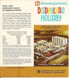 "An American Airlines brochure from circa 1966, featuring the Howard Johnson Anaheim Hotel and Water Playground and Disneyland! It was ""Astrojet Holidays"" - how groovy!  And we're still here, with the same owners and same team bringing families generations of memories! Come and see us soon! www.hojoanaheim.com"