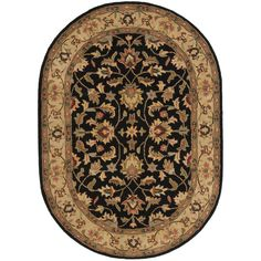 Safavieh Handmade Heritage Timeless Traditional Black/ Gold Wool Rug (7'6 x 9'6 Oval), Size 8' x 10'