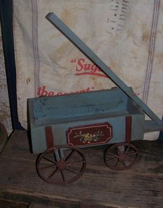 Old Style Play Wagon Toy with Rusted Wheels and Worn Paint Maine Find | eBay