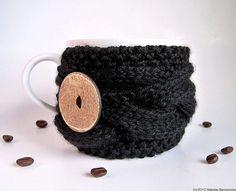 Black Coffee Cup Cozy Coffee Cup Sleeve Coffee Mug por natalya1905