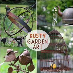 Rusty Garden Art Gallery including orbs, kettles, bee skep, and decorative birds at empressofdirt.net.