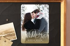 """""""Smashing Script"""" - Full-Bleed Photo, Hand Drawn Save The Date Magnets in Caramel by Jill Means."""