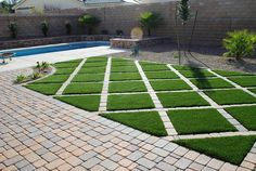 Artificial turf is not just for big open spaces. You are able to create amazing modern looks with the right design. By blending different materials you can get a great look that is unique to your back yard.  #artificialturf #pavers #belgardpavers #lasvegaslandscaper #landscapedesign