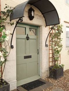 Super Ideas For Front Door Overhang Entrance Modern Entry French Door Decor, French Doors, Front Door Overhang, Metal Awning, Window Awnings, Front Door Colors, Entry Doors, Front Entry, Exterior Paint