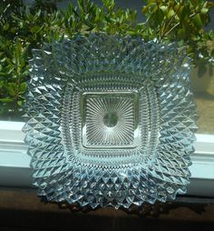 Vintage Blue Ruffled Depression Glass Candy DIsh/ by aleshagrace, $12.00
