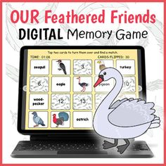DIGITAL Bird Memory Game - Bird Matching Game - Bird Names Activity