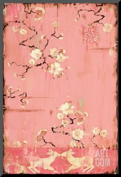 """Paintings by artist Kathe Fraga inspired by vintage France and the beauty of age old chinoiserie. """"The French Wallpaper Series"""" copyright 2014 Chinoiserie, French Wallpaper, Framed Artwork, Wall Art, Oeuvre D'art, Asian Art, Pretty In Pink, Find Art, Giclee Print"""