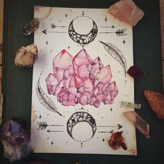 Crystals and crystal art. Crystal Drawing, Creation Art, Drawn Art, Illustration Mode, Tatoo Art, Book Of Shadows, Art Inspo, Amazing Art, Awesome