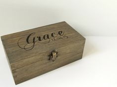 Personalised distressed wooden box  Wooden keepsake by MakeMemento