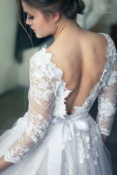In love with this low back, lace sleeve, tulle skirted Etsy wedding dress