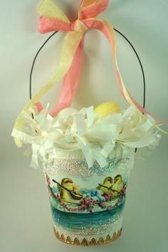 Darling Easter Basket with a Vintage Chick by SparkleLovesWhimsey