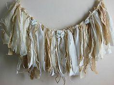 fabric and burlap garlandRustic wedding shabby by AgoVintage, $42.00