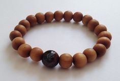 Buddha on Lotus Agate and Wood Beads Mala Bracelet www.AthenaisJewelry.etsy.com