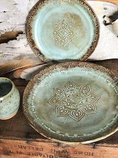 Native Mandala Dinner Plate ~ Rustic Vermont Handmade Pottery ~ MADE TO ORDER ~ Native Mandala Dinner Plate ~ Turquoise & Brown ~ Rustic Vermont Handmade Pottery Pottery Plates, Slab Pottery, Ceramic Plates, Ceramic Pottery, Ceramic Art, Pottery Wheel, Rustic Plates, Decorative Plates, Mandala Design