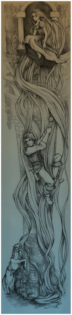Wow Incredible Tangled black and White Disney Art Drawing