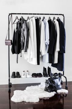 Makeshift closet ideas // Black clothing rack + white rug + wood floors - baby clothes online, online shopping for clothes, shop name brand clothes online *ad Minimalist Closet, Minimalist Interior, Minimalist Decor, Minimalist Living, Minimalist Bedroom, Minimalist Lifestyle, Bedroom Modern, Modern Minimalist, Minimalist Quotes