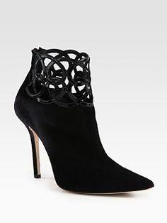 Oscar de la Renta - Suede and Patent Leather Ankle Boots - love!!