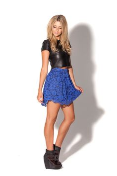 Lace Blue Skirt (Limited) by Black Milk Clothing