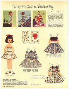 Betsy McCall Paper Dolls - 1957 Feb - I loved when Mother bought a McCall's magazine, so I could cut out these paper dolls! My Funny Valentine, Vintage Valentines, Valentine Gifts, Xmas Gifts, Paper Toys, Paper Crafts, Paper Dolls Printable, Moda Vintage, Vintage Paper Dolls