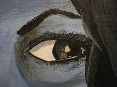 detalle de autorretrato, acrilico y lapiz