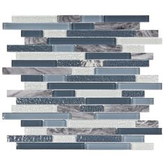 "SomerTile Sierra 11-3/4"" x 11-5/8"" Glass and Stone Piano Mosaic in Gulf"