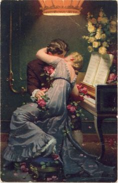 Completely In Tune With One Another ~ Vintage Couples Of Long Ago ~ The Art Of Romance Romance Arte, Vintage Romance, Vintage Art, Vintage Books, Romantic Paintings, Classic Paintings, Beautiful Paintings, Renaissance Kunst, Renaissance Paintings