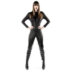 Black Catsuit All-in-one with zip up front. Superhero Fancy Dress, Halloween Fancy Dress, Black Catsuit, Ladies Fancy Dress, Catwoman, Leather Pants, Costumes, Lady, Outfits